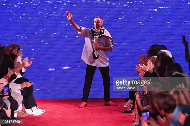 Designer Calvin Klein walks the runway for Calvin Klein Collection during New York Fashion Week at New York Stock Exchange on September 11 2018 in...
