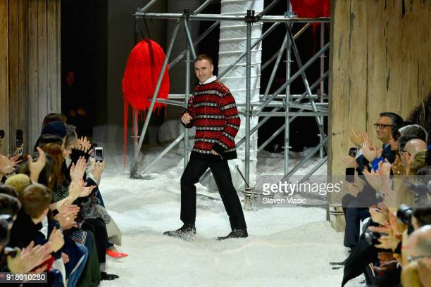 Designer Calvin Klein walks the runway for Calvin Klein Collection during New York Fashion Week at New York Stock Exchange on February 13, 2018 in...