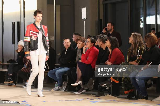 Designer Calvin Luo watches the rehearsal before the Calvin Luo fashion show during New York Fashion Week on February 13 2018 in New York City