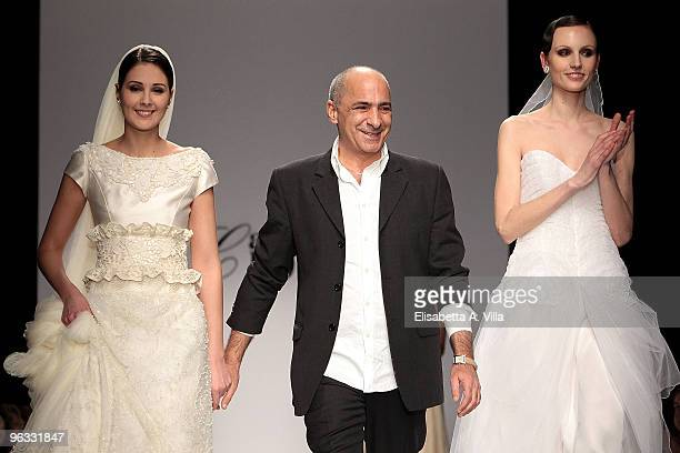 Designer Camillo Bona greets the public during his fashion show as part of the Rome Fashion Week Spring / Summer 2010 on February 1 2010 in Rome Italy