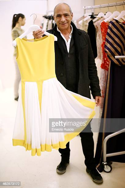 Designer Camillo Bona shows the dress for Amal Clooney during the Camillo Bona fashion show as a part of AltaRoma 2015 at Acquario Romano on January...
