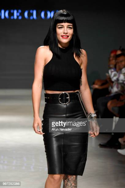 Designer Candice Cuoco walks the runway for Candice Cuoco at Miami Swim Week powered by Art Hearts Fashion Swim/Resort 2018/19 at Faena Forum on July...