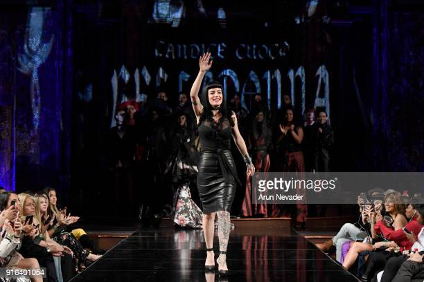 Designer Candice Cuoco walks the runway with her models during CANDICE CUOCO at New York Fashion Week Powered by Art Hearts Fashion NYFW at The Angel...
