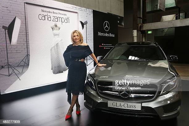 Designer Carla Zampatti poses at MercedesBenz Fashion Week Australia 2014 at Carriageworks on April 6 2014 in Sydney Australia