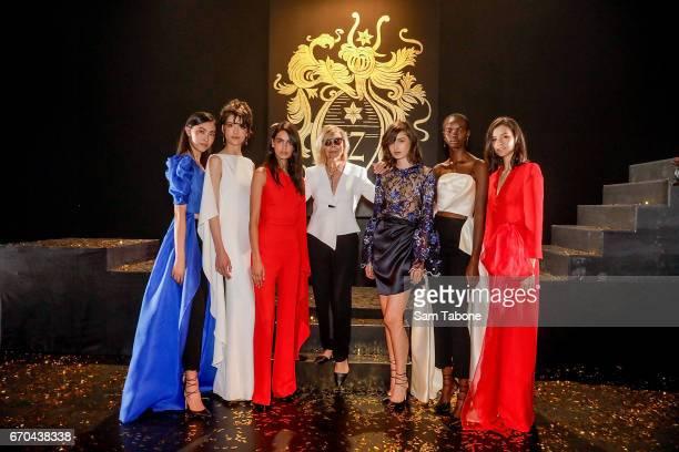 Designer Carla Zampatti poses with models at the Carla Zampatti Spring Summer 2017 Show at Sydney Theatre Company on April 20 2017 in Sydney Australia