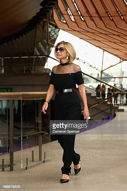 Designer Carla Zampatti walks the catwalk following her 50th anniversary show at Sydney Opera House on April 8 2015 in Sydney Australia