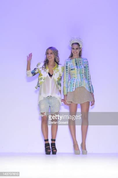 Designer Carlie Waterman in the Innovators group show on the catwalk on day four of Mercedes-Benz Fashion Week Australia Spring/Summer 2012/13 at the...