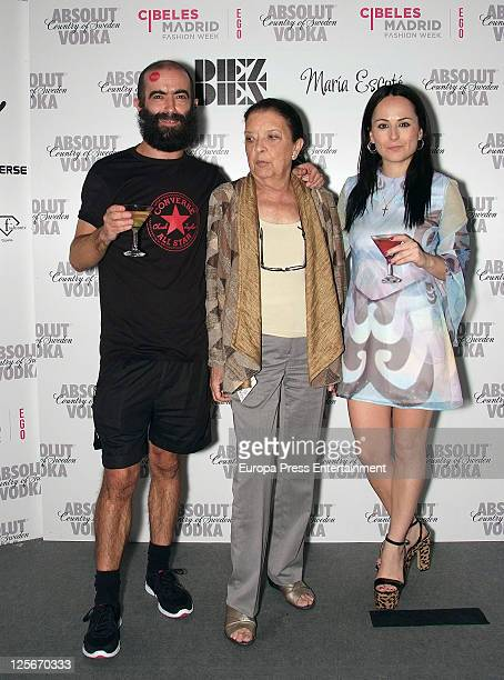 Designer Carlos Diez and Cuca Solana pose after the fashion show during the Cibeles Madrid Fashion Week Spring/Summer 2012 at Ifema on September 19...