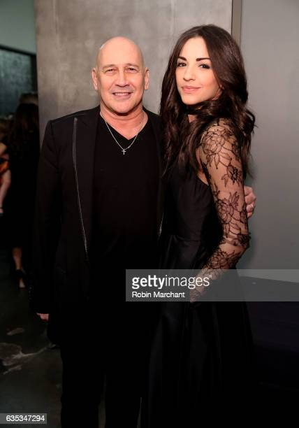 Designer Carmen Marc Valvo and Ana Villafane pose for a photo backstage at Carmen Marc Valvo during New York Fashion Week on February 14 2017 in New...