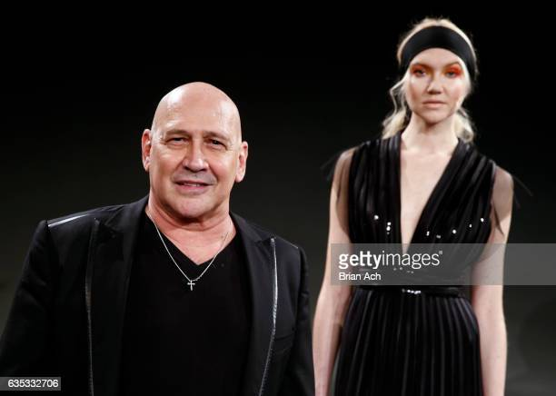 Designer Carmen Marc Valvo poses during the Carmen Marc Valvo presentation during New York Fashion Week on February 14 2017 in New York City