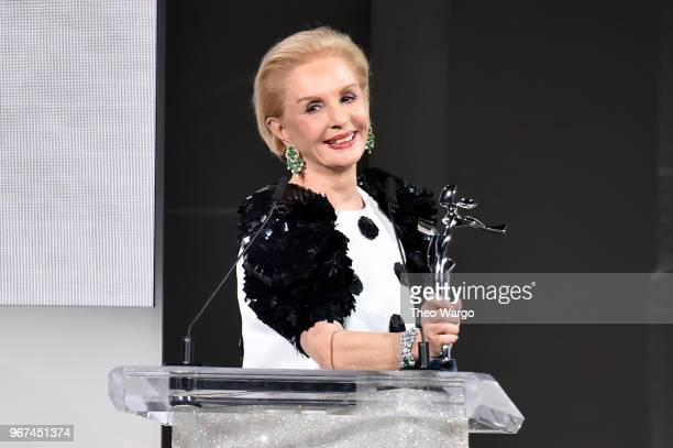 Designer Carolina Herrera accepts the 2018 CFDA Founders award during the 2018 CFDA Fashion Awards at Brooklyn Museum on June 4 2018 in New York City