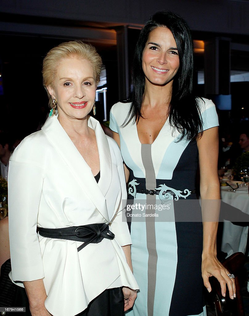 "Designer Carolina Herrera (L) and actress Angie Harmon attend EIF Women's Cancer Research Fund's 16th Annual ""An Unforgettable Evening"" presented by Saks Fifth Avenue at the Beverly Wilshire Four Seasons Hotel on May 2, 2013 in Beverly Hills, California."