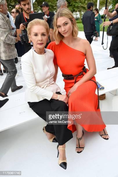 Designer Carolina Herrera and model Karlie Kloss attend the front row of Carolina Herrera fashion show during New York Fashion Weekon September 09...