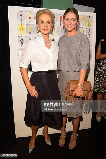 Designer Carolina Herrera and Olivia Palermo pose backstage at the Carolina Herrera fashion show during MercedesBenz Fashion Week Spring 2015 at The...