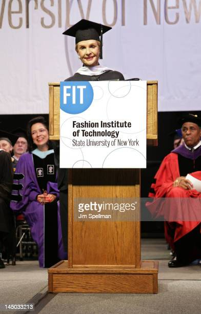 Designer Carolina Herrera attends the 2012 Commencement ceremony at The Fashion Institute of Technology on May 22 2012 in New York City
