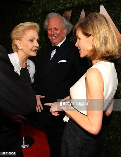 Designer Carolina Herrera Editorinchief of Vanity Faire Graydon Carter and Anna Carter attend the 2010 Vanity Fair Oscar Party hosted by Graydon...