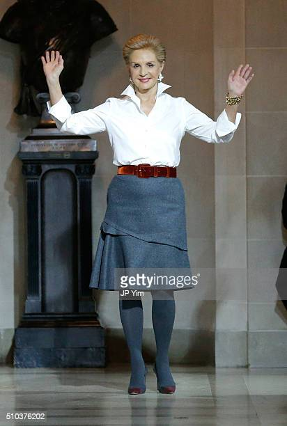 Designer Carolina Herrera poses on the runway at her Fall 2016 fashion show during New York Fashion Week on February 15, 2016 in New York City.