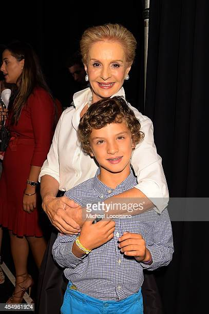 Designer Carolina Herrera prepares backstage at the Carolina Herrera fashion show during MercedesBenz Fashion Week Spring 2015 at The Theatre at...