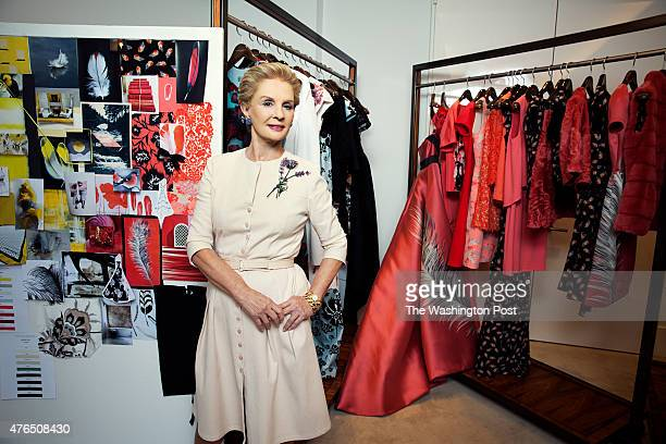 Designer Carolina Herrera stands in front of racks of her work at her fashion label's headquarters in New York NY on June 2nd 2015 Mrs Herrera is...