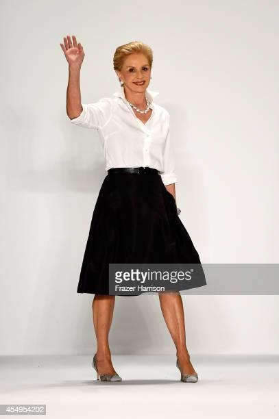 Designer Carolina Herrera walks the runway at the Carolina Herrera fashion show during MercedesBenz Fashion Week Spring 2015 at The Theatre at...