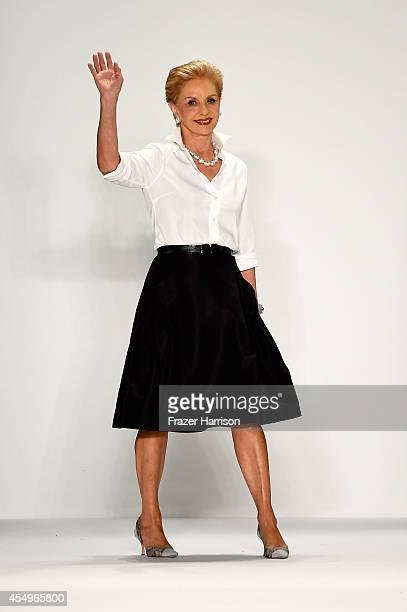 Designer Carolina Herrera walks the runway at the Carolina Herrera fashion show during Mercedes-Benz Fashion Week Spring 2015 at The Theatre at...