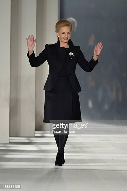 Designer Carolina Herrera walks the runway at the Carolina Herrera fashion show during MercedesBenz Fashion Week Fall 2014 at The Theatre at Lincoln...