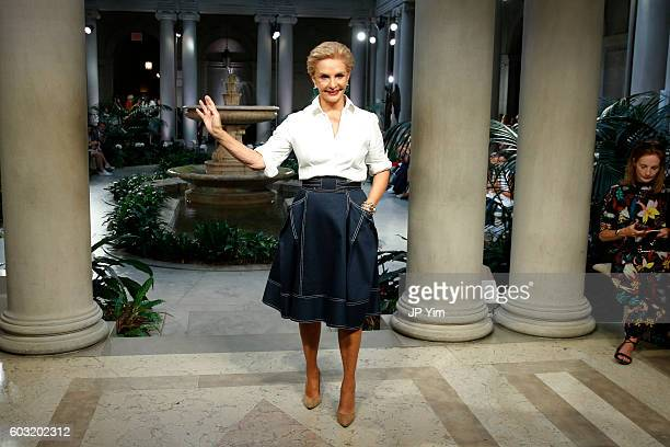 Designer Carolina Herrera walks the runway at the Carolina Herrera fashion show during New York Fashion Week on September 12 2016 in New York City