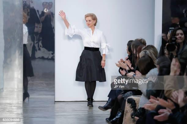 Designer Carolina Herrera walks the runway for the Carolina Herrera collection during, New York Fashion Week: The Shows on February 13, 2017 in New...
