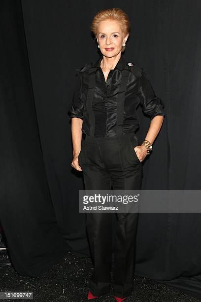 Designer Caroline Herrera poses backstage at the Carolina Herrera Spring 2013 fashion show during Mercedes-Benz Fashion Week at The Theatre at...
