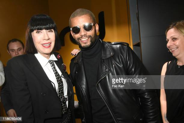 Designer Chantal Thomass and dancer Brahim Zaibat attend the Red X BHV Marais Ephemere Boutique Launch Party on November 07 2019 in Paris France