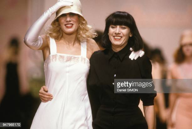 Designer Chantal Thomass on right at Ready to Wear 1989 fashion show in October 1988 in Paris France