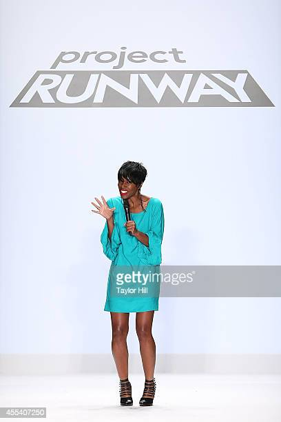 Designer Char Glover presents her collection during the Project Runway Season 13 Finale Show at MercedesBenz Fashion Week Spring 2015 at The Theatre...