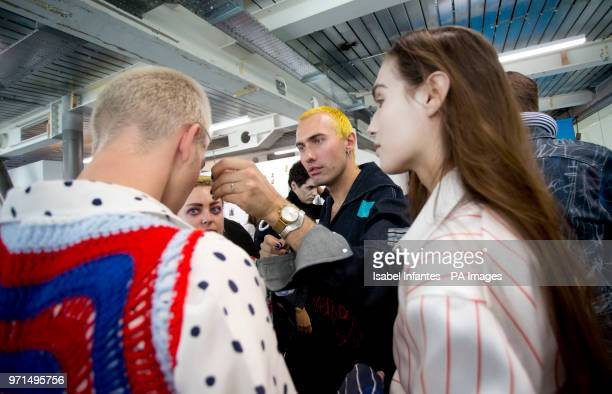 Designer Charles Jeffrey backstage at his London Fashion Week Men's SS19 show held at the BFC Show Space London