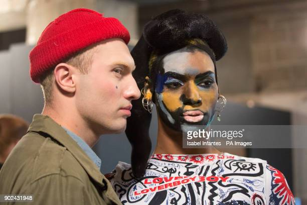 Designer Charles Jeffrey LOVERBOY left pictured with model on the backstage during the Autumn/ Winter 2018 London Fashion Week show at Topman...