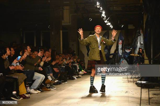 Designer Charles Jeffrey on the runway at the Charles Jeffrey LOVERBOY show during London Fashion Week Men's January 2018 at Old Selfridges Hotel on...