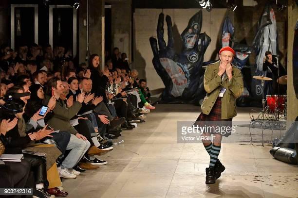 Designer Charles Jeffrey walks the runway at the Charles Jeffrey LOVERBOY show during London Fashion Week Men's January 2018 at Old Selfridges Hotel...