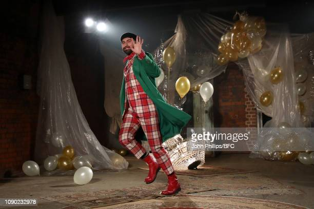 Designer Charles Jeffrey walks the runway during the finale of the Charles Jeffrey Loverboy show during London Fashion Week Men's January 2019 at the...