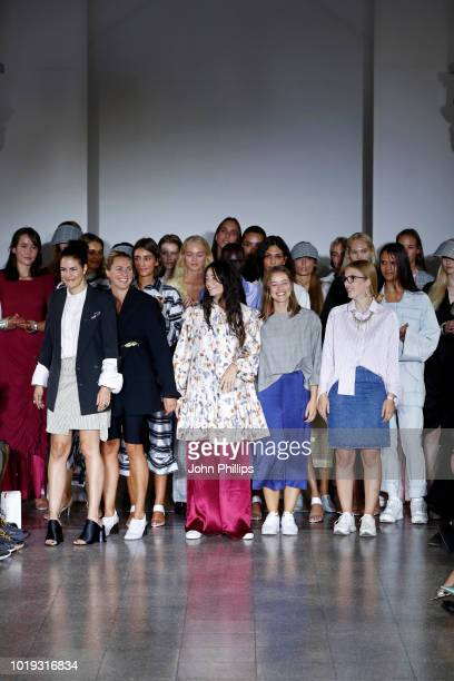 Designer Charlotte Fische and models acknowledge the applause of the audience after the Moire show during Oslo Runway SS19 at Bankplassen 4 on August...