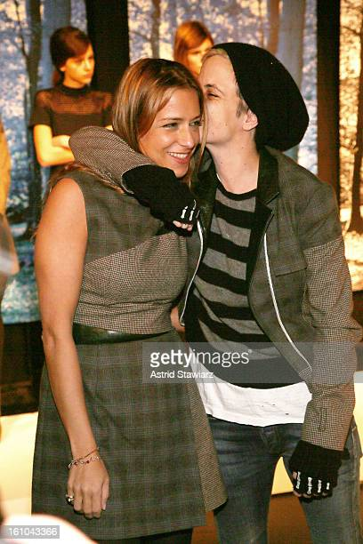 Designer Charlotte Ronson and DJ Samantha Ronson pose on the runway at the Charlotte Ronson Fall 2013 Presentation during MercedesBenz Fashion Week...