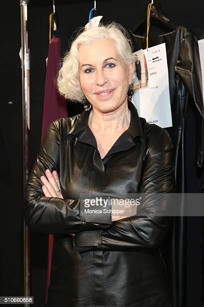Designer Chiara Boni poses backstage at the Chiara Boni La Petite Robe Fall 2016 fashion show during New York Fashion Week The Shows at The Dock...