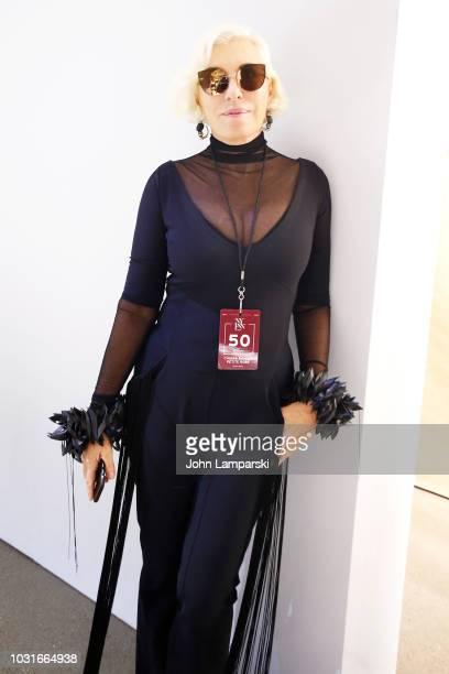 Designer Chiara Boni poses backstage for Chiara Boni La Petite Robe during New York Fashion Week The Shows at Gallery II at Spring Studios on...