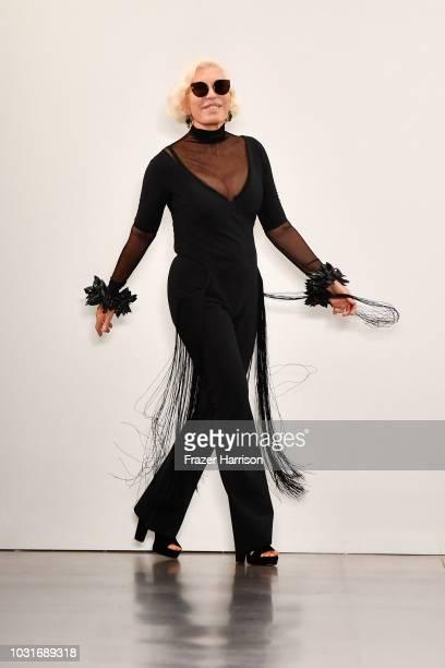 Designer Chiara Boni walks the runway for Chiara Boni La Petite Robe during New York Fashion Week The Shows at Gallery II at Spring Studios on...