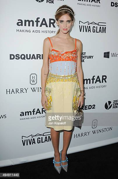 Designer Chiara Ferragni arrives at amfAR's Inspiration Gala Los Angeles at Milk Studios on October 29 2015 in Hollywood California