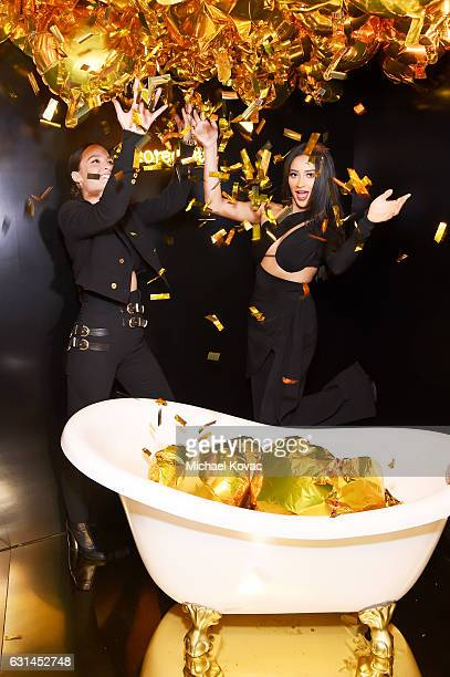Designer Chloe Bartoli and actress Shay Mitchell attend the YSL Beauty Club Party at the Ace Hotel on January 10 2017 in Downtown Los Angeles...
