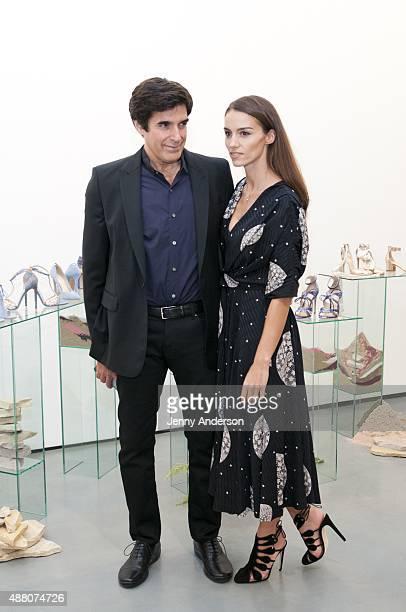 Designer Chloe Gosselin and husband David Copperfield attend her Spring 2016 New York Fashion Week presentation at Lori Bookstein Fine Art on...