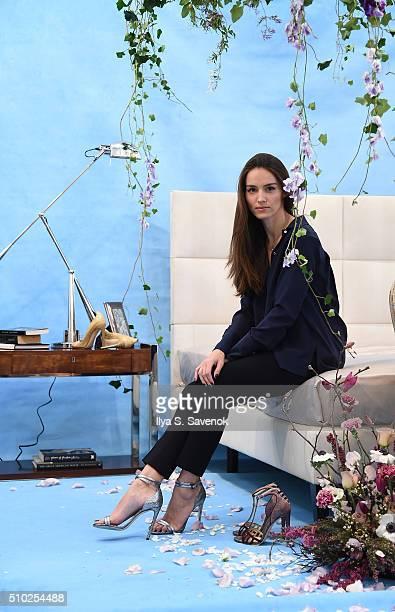 Designer Chloe Gosselin poses at the Chloe Gosselin Presentation during Fall 2016 New York Fashion Week at Lori Bookstein Fine Art on February 14...