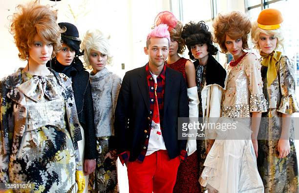Designer Chris Benz poses with models during the Chris Benz fall 2012 presentation during MercedesBenz Fashion Week at Avery Fisher Hall Grand...