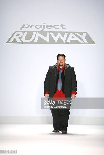 Designer Chris March walks the runway wearing Chris March for 'Project Runway' Season 4 collections during MercedesBenz Fashion Week Fall 2008 at The...