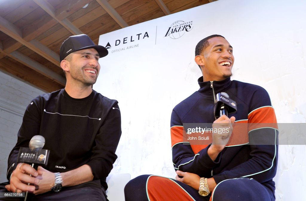 """Los Angeles Lakers Guard Jordan Clarkson and Streetwear Designer Chris Stamp Team Up for An Immersive Style Experience with Fans at Delta's """"Beyond the Court"""" Event at the Stampd Store in Los Angeles : News Photo"""