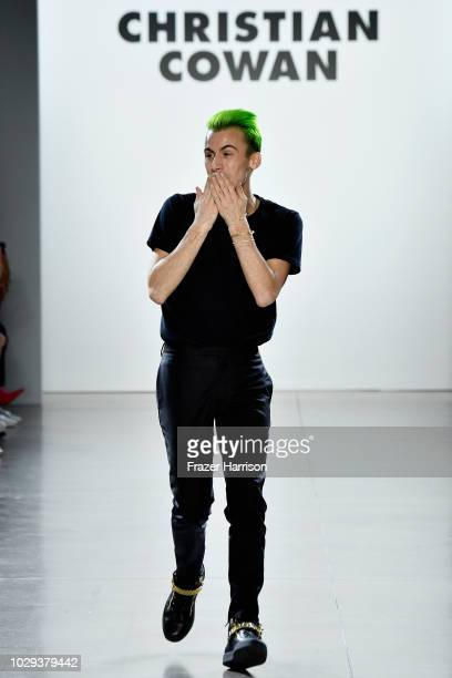 Designer Christian Cowan walks the runway at Christian Cowan show during New York Fashion Week The Shows at Gallery II at Spring Studios on September...